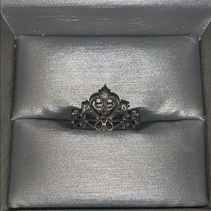 Sterling Silver and Diamond Princess Ring